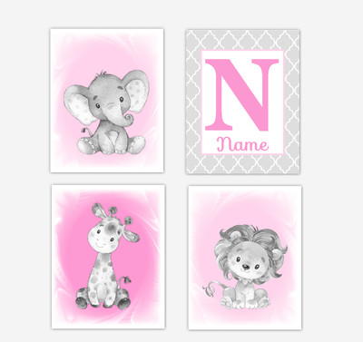Safari Animals Pink Baby Girl Nursery Decor Wall Art Prints Elephant Giraffe Lion Personalized Pictures New Baby Girl SET OF 4 UNFRAMED PRINTS or CANVAS