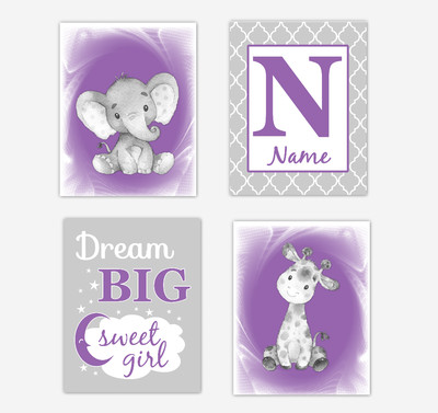 Safari Animals Purple Baby Girl Nursery Decor Wall Art Prints Elephant Giraffe Personalized Pictures New Baby Girl SET OF 4 UNFRAMED PRINTS or CANVAS