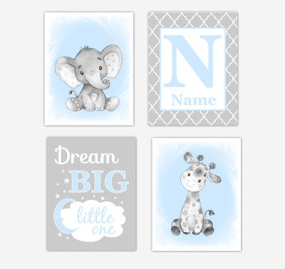 Blue Gray Safari Animals Baby Boy Nursery Decor Wall Art Prints Elephant Giraffe Personalized Pictures New Baby Gift SET OF 4 UNFRAMED PRINTS or CANVAS