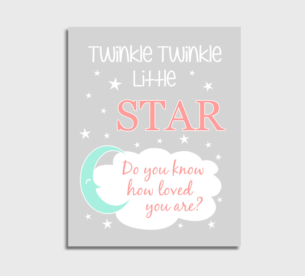 Coral Mint Twinkle Little Star Girl Nursery Wall Art Print Canvas Girl Bedroom Decor Picture