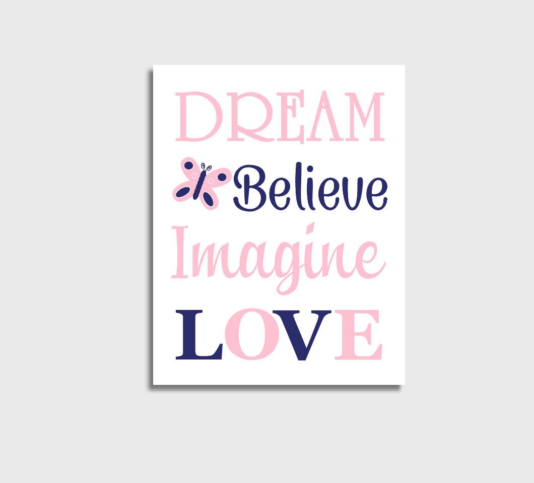 Pink Navy Blue Baby Girl Nursery Wall Art Canvas Prints Bedroom Decor Butterfly Dream Believe