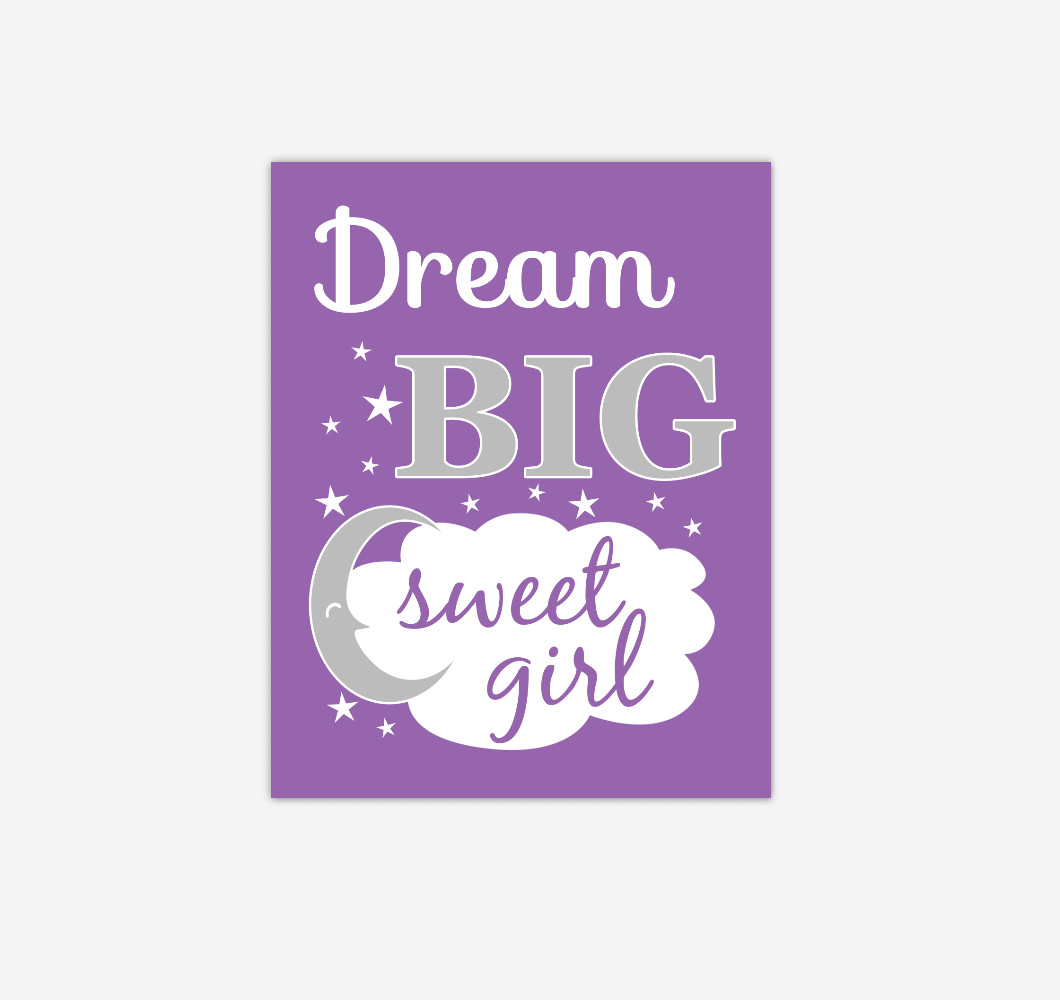 Purple Dream Big Baby Girl Nursery Wall Art Print Canvas Decor Picture