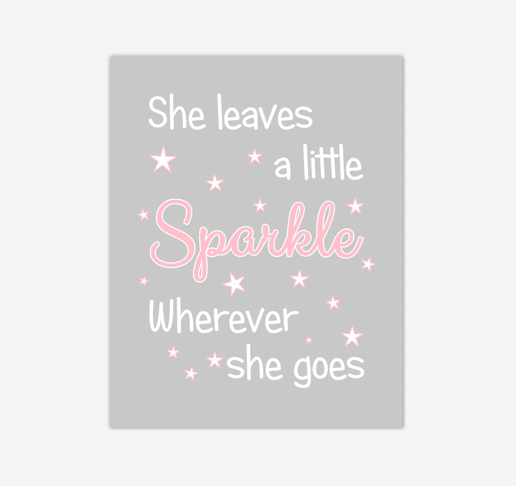 Pink She Leaves A Little Sparkle Baby Girl Nursery Wall Art Print Canvas Decor Picture