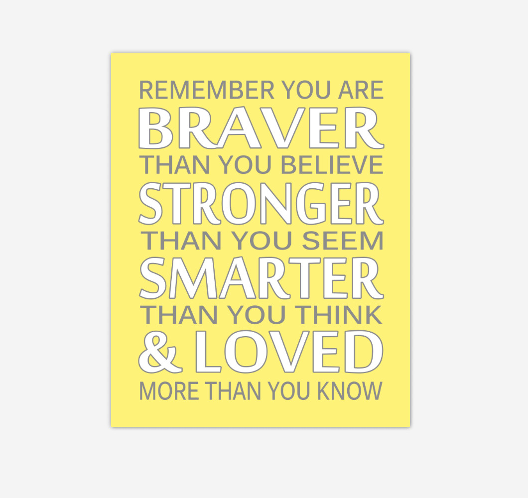 Yellow Gray Remember You Are Braver Baby Girl Nursery Wall Art Print Canvas Decor Inspirational Quotes