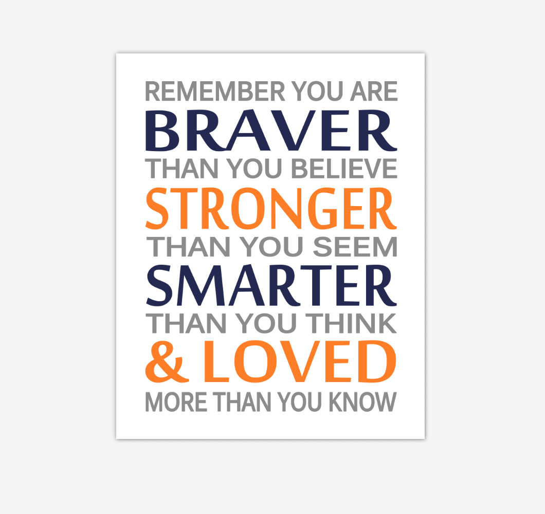 Navy Blue Orange Remember You Are Braver Baby Boy Nursery Wall Art Print Canvas Decor Inspirational Quotes