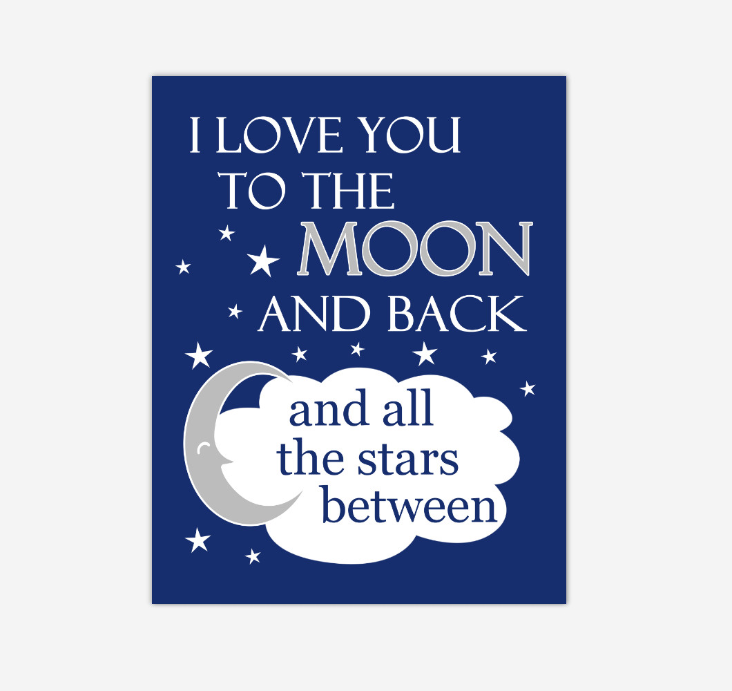 Navy Blue I Love You To The Moon And Back Baby Boy Nursery Wall Art Print Canvas Decor Inspirational Quotes