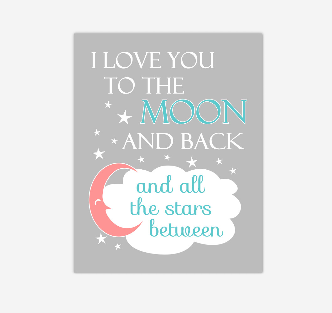 Coral Teal I Love You To The Moon And Back Baby Girl Nursery Wall Art Print Canvas Decor Inspirational Quotes