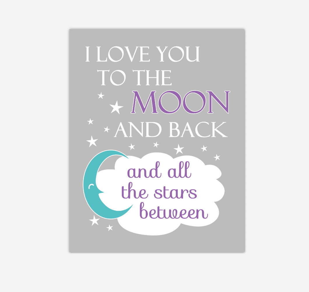 Purple Teal Aqua I Love You To The Moon And Back Baby Girl Nursery Wall Art Print Canvas Decor Inspirational Quotes