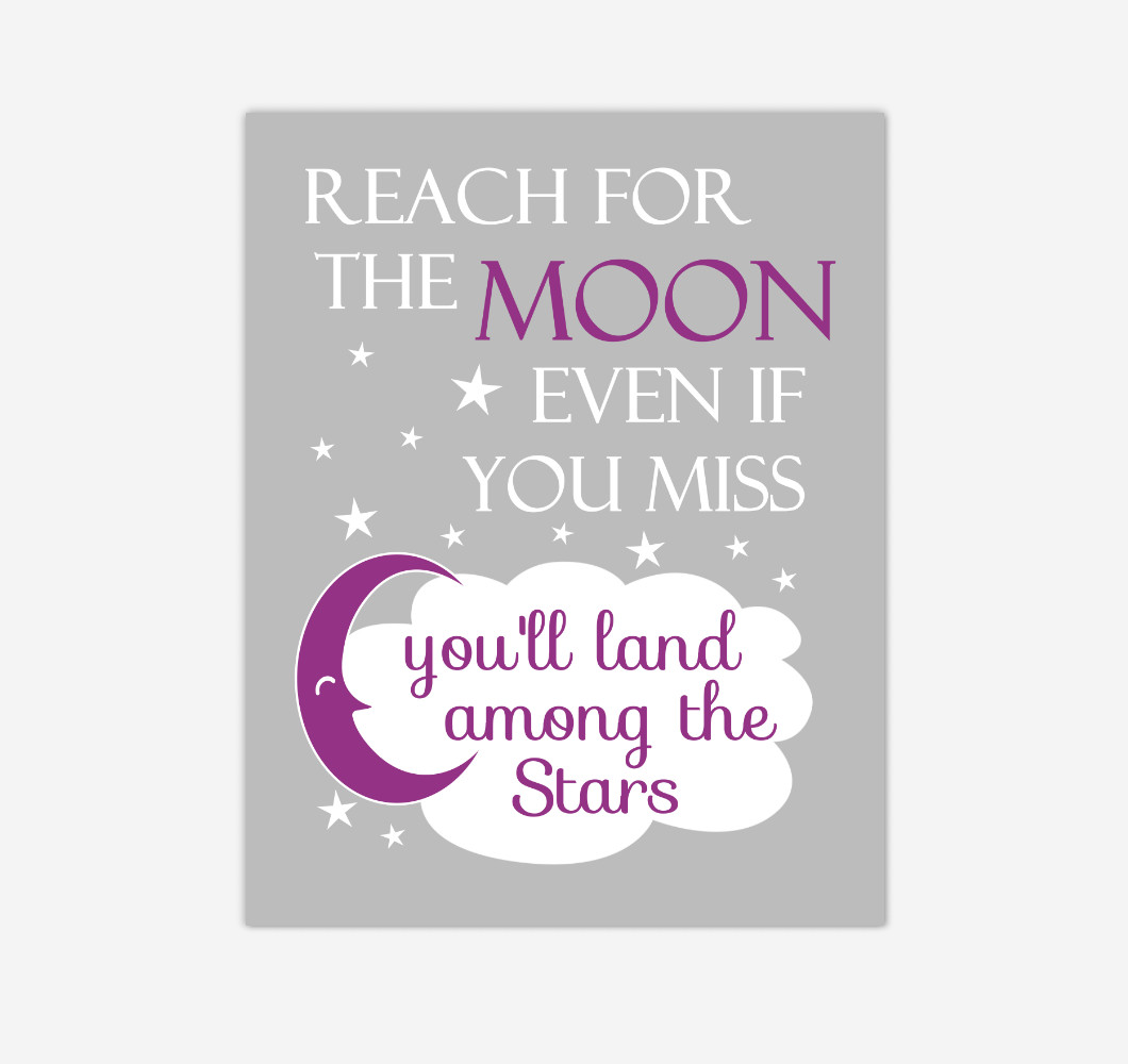 Purple Reach For The Moon Baby Girl Nursery Wall Art Print Canvas Decor Inspirational Kids Bedroom Quotes