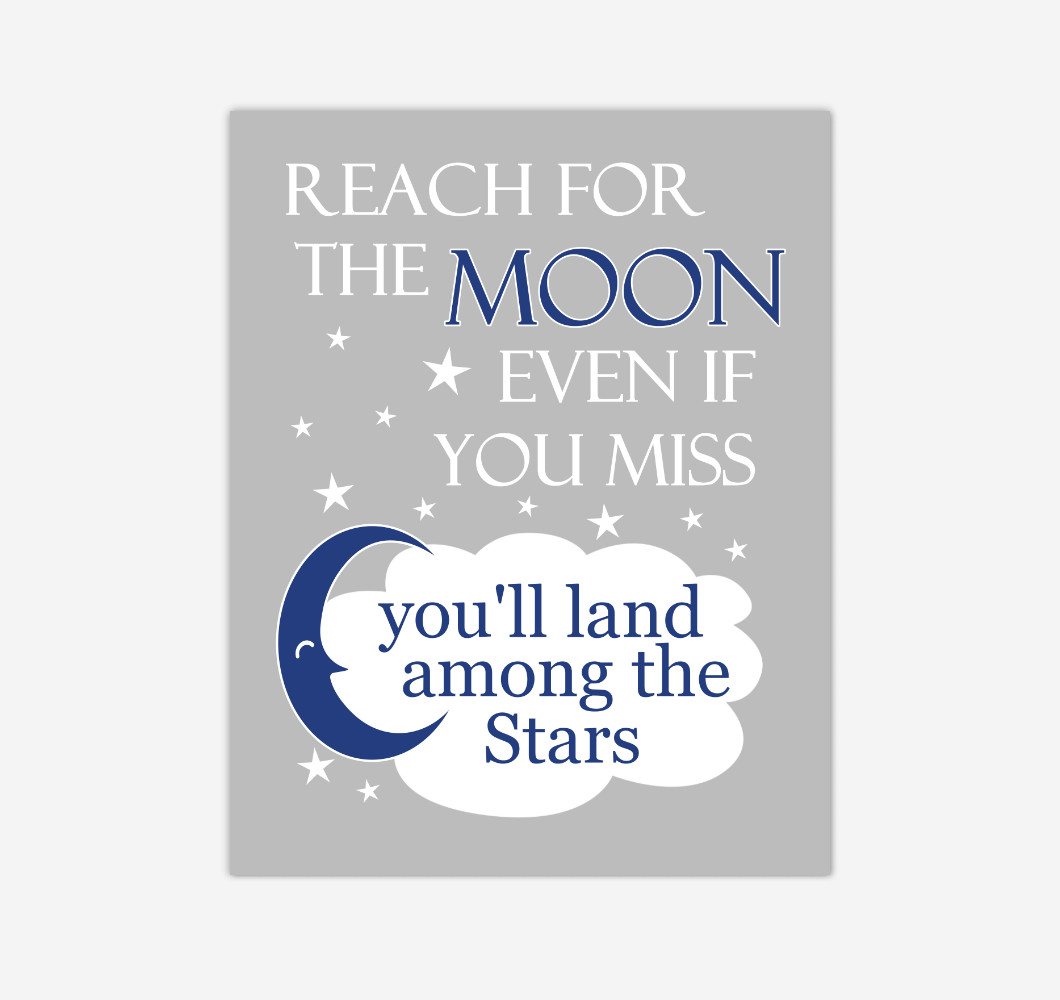 Navy Blue Reach For The Moon Baby Boy Nursery Wall Art Print Canvas Decor Inspirational Kids Bedroom Quotes