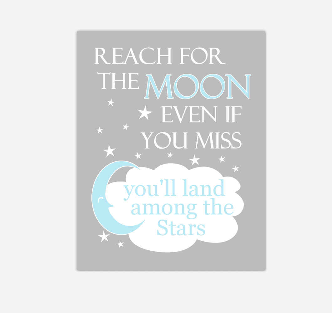 Blue Reach For The Moon Baby Boy Nursery Wall Art Print Canvas Decor Inspirational Kids Bedroom Quotes