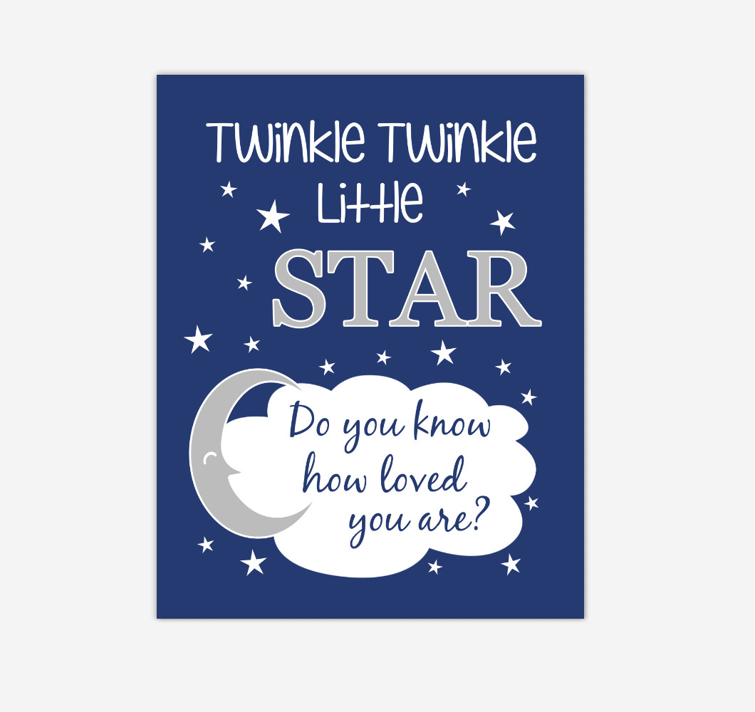 Navy Blue Twinkle Little Star Baby Boy Nursery Wall Art Print Canvas Decor Inspirational Kids Bedroom Quotes