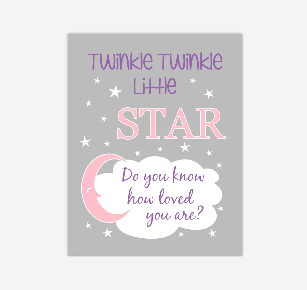 Pink Purple Twinkle Little Star Baby Girl Nursery Wall Art Print Canvas Decor Inspirational Kids Bedroom Quotes
