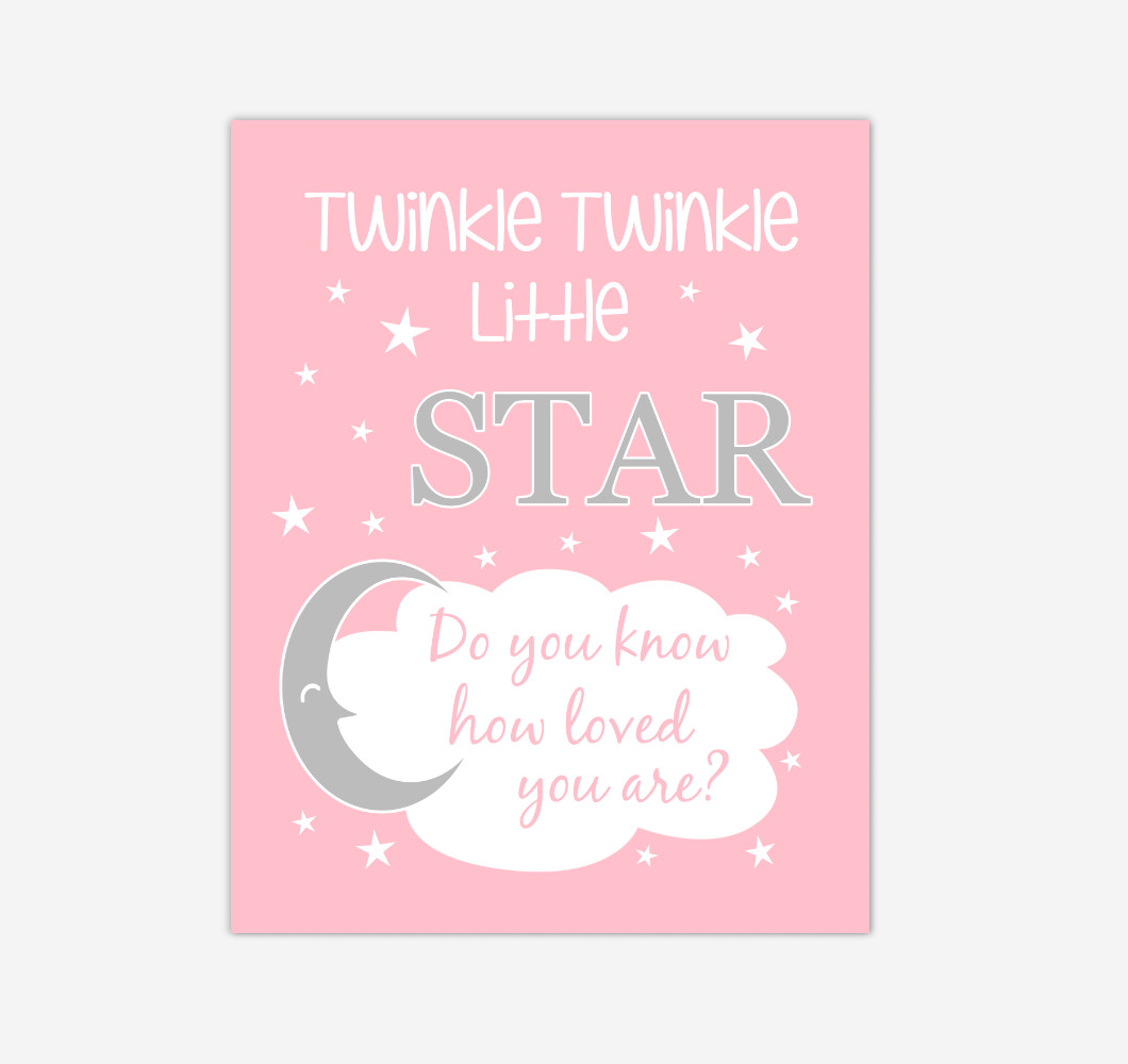 Pink Gray Twinkle Little Star Baby Girl Nursery Wall Art Print Canvas Decor Inspirational Kids Bedroom Quotes