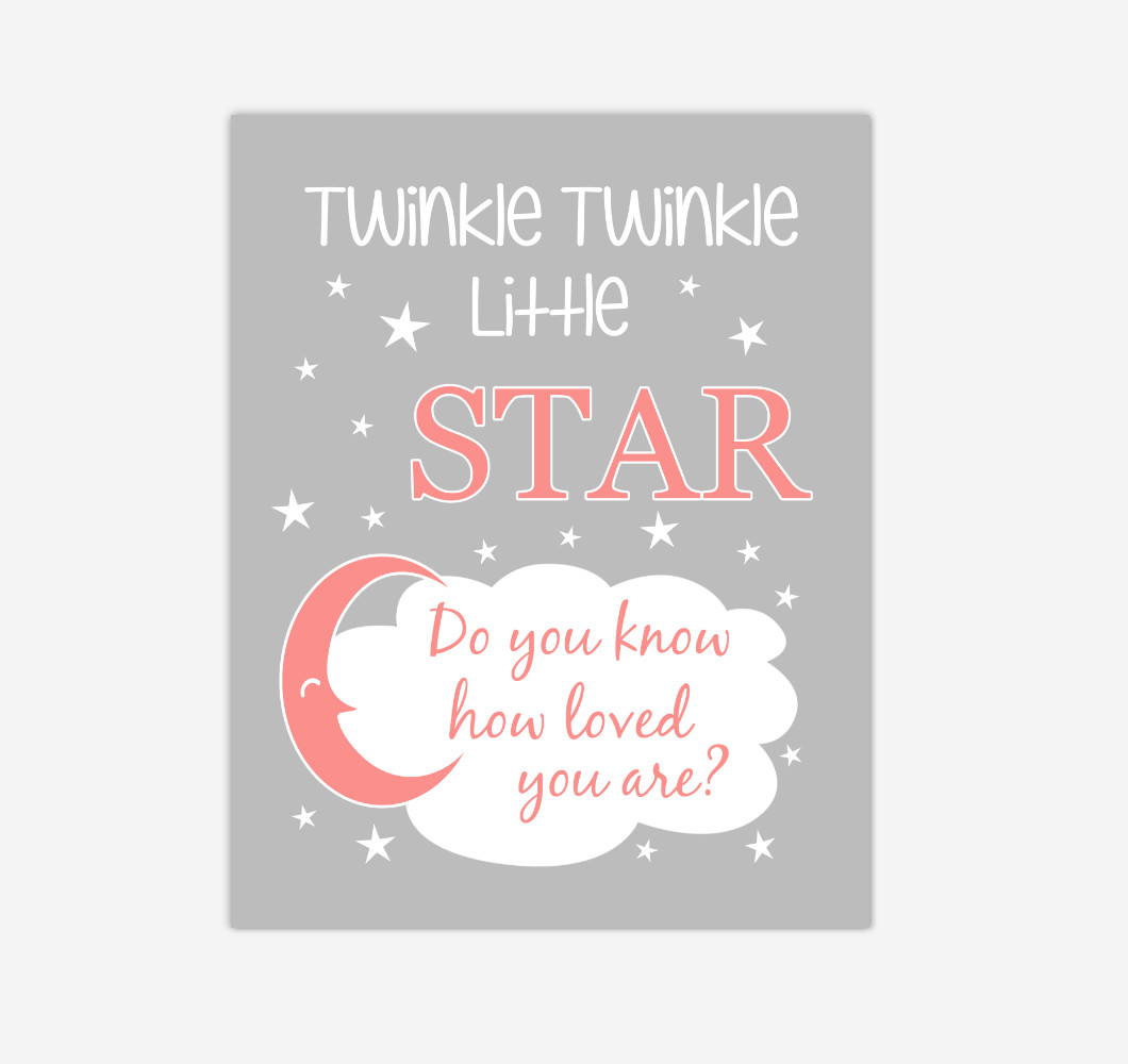 Coral Twinkle Little Star Baby Girl Nursery Wall Art Print Canvas Decor Inspirational Kids Bedroom Quotes