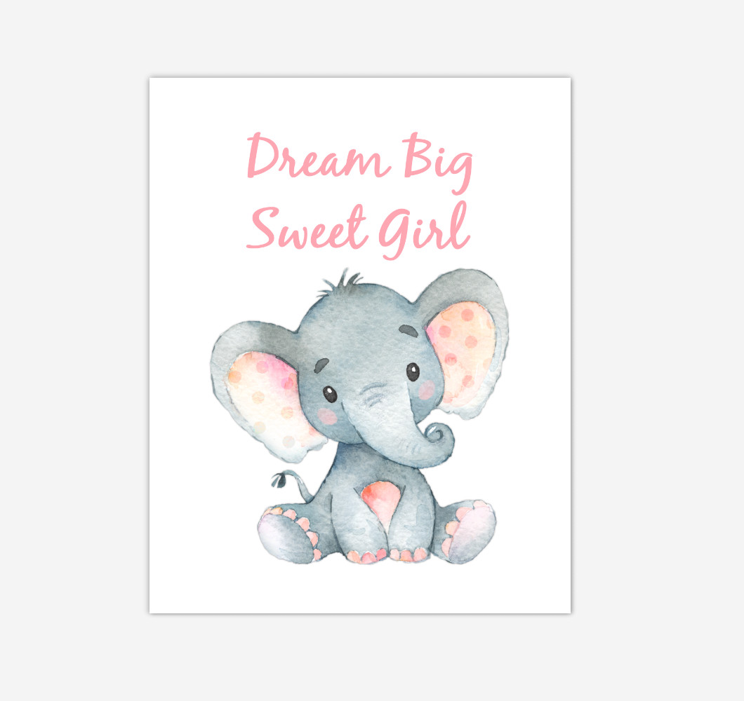 Elephant Baby Girl Nursery Wall Art Canvas Prints Safari Animals Dream Big Baby Nursery Decor