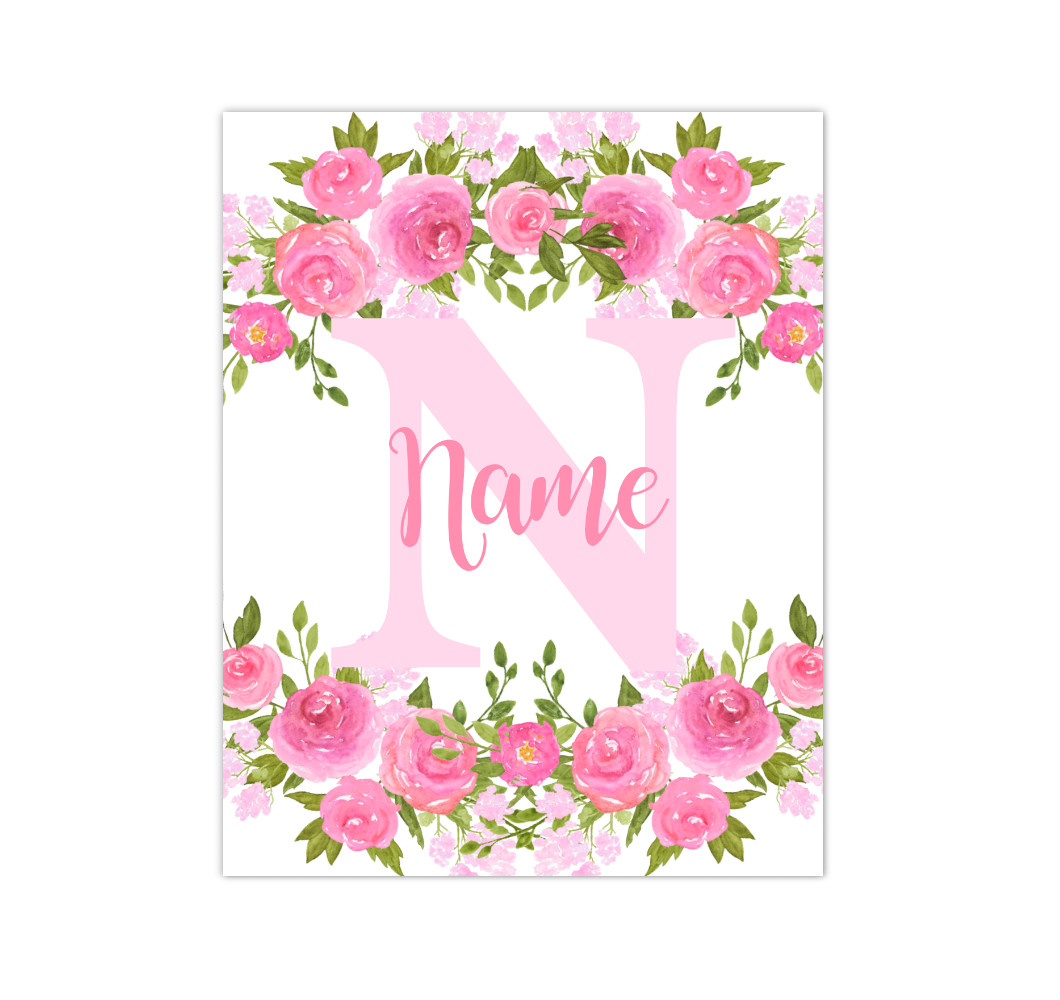 Pink Floral Watercolor Flowers Personalized Baby Girl Nursery Wall Art Canvas Prints Girl Bedroom Decor