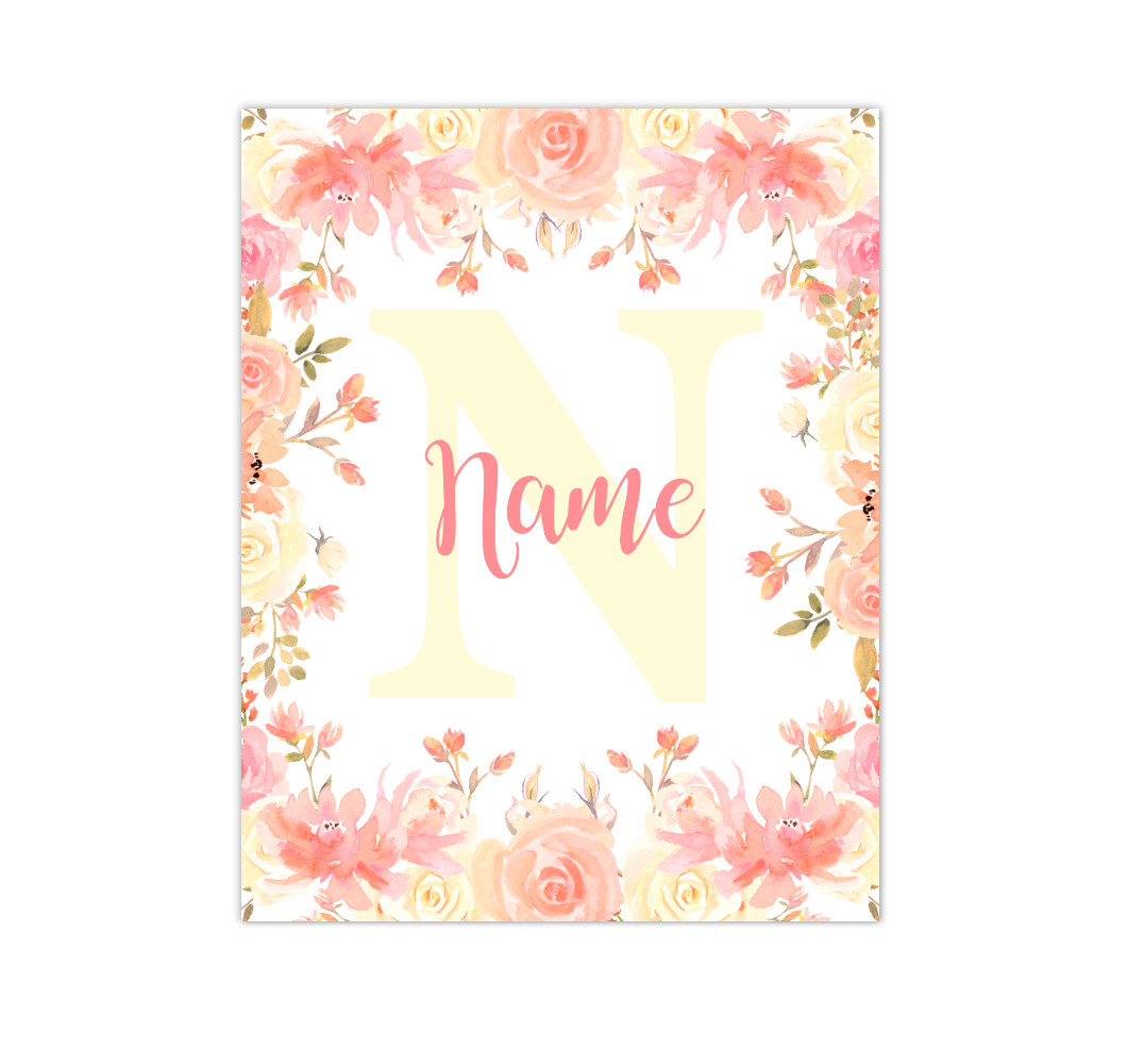 Coral Yellow Floral Watercolor Flowers Personalized Baby Girl Nursery Wall Art Canvas Prints Girl Bedroom Decor