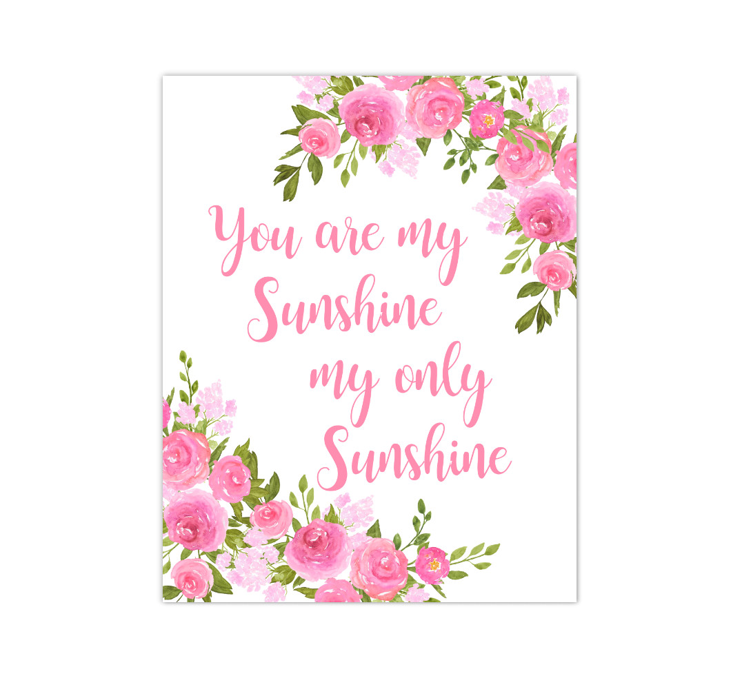 Pink Floral Watercolor Flowers Baby Girl Nursery Wall Art Canvas Prints Girl Bedroom Inspirational Quote Decor