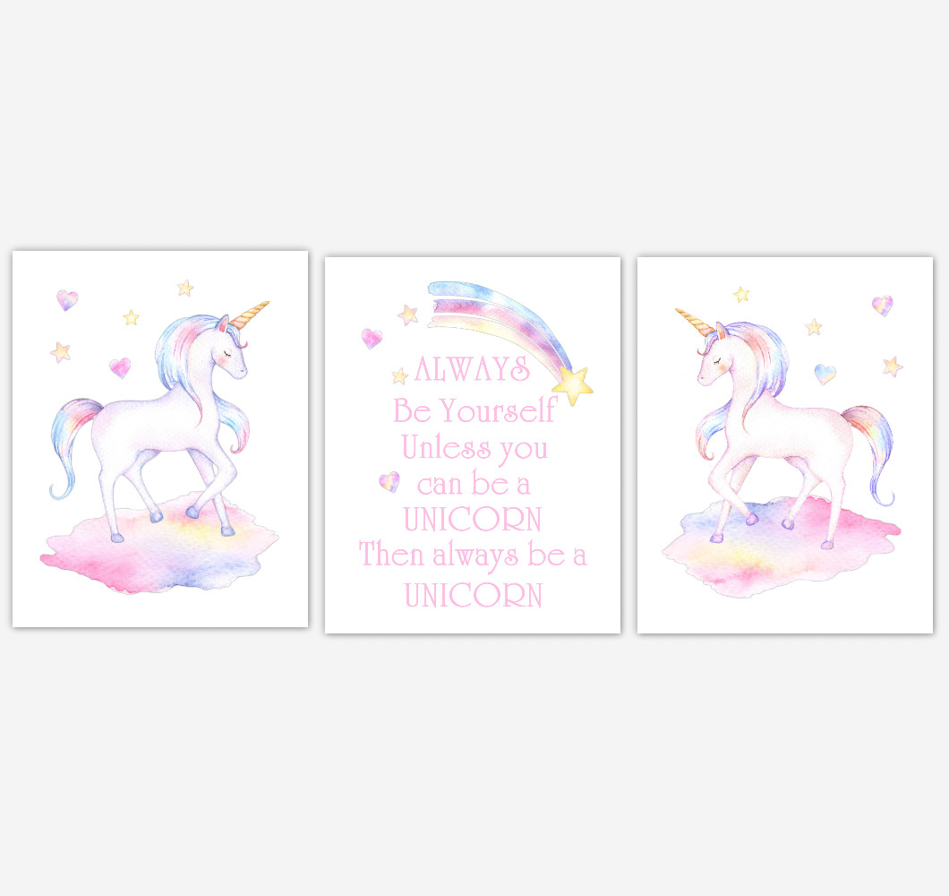 Rainbow Unicorn Wall Art Girl Bedroom Art Unicorn Baby Nursery Decor Art Prints or Canvas