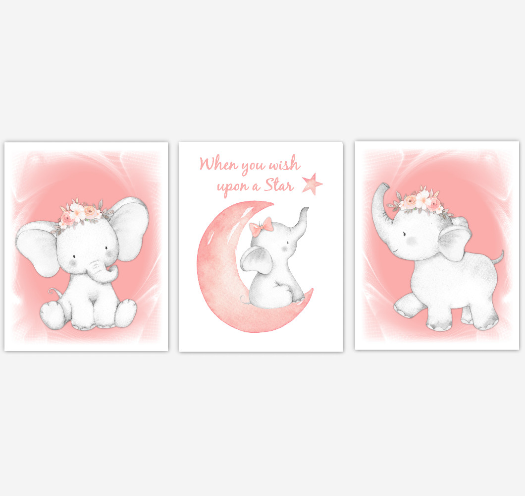 Coral Elephant Baby Girl Nursery Decor Wall Art Prints Elephant Home Decor Kids Bedroom Pictures Set of 3 UNFRAMED PRINTS or CANVAS