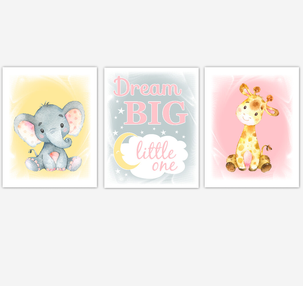 Pink Yellow Safari Animals Baby Girl Nursery Decor Watercolor Elephant Giraffe Baby Animal Wall Art Prints Baby Shower Gift Set of 3 UNFRAMED PRINTS or CANVAS