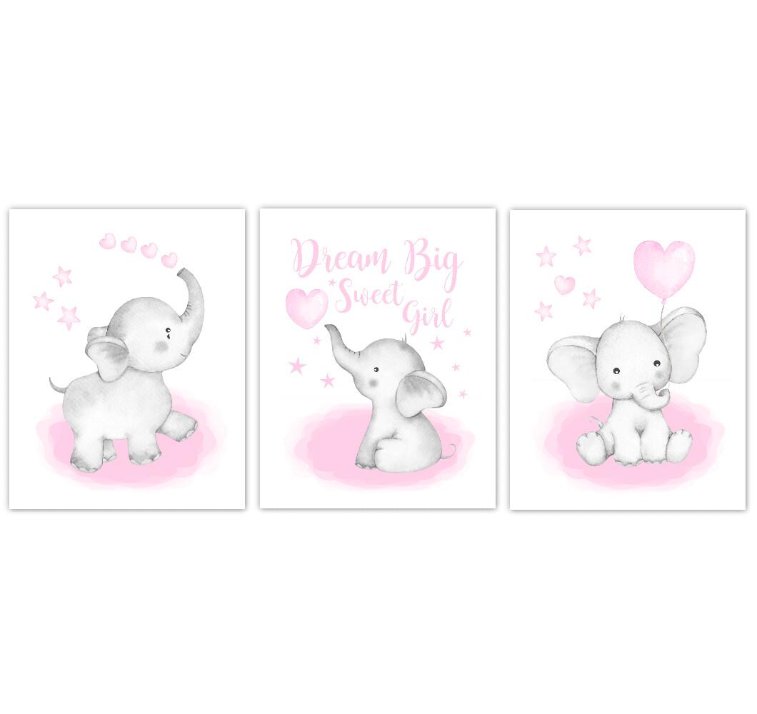 Watercolor Pink Elephants Baby Nursery Art Elephant Wall Decor Elephant With Balloons Baby Elephant Canvas Art Baby Room Nursery Decor Set of 3 UNFRAMED PRINTS or CANVAS