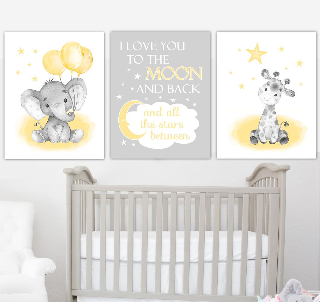 Yellow Baby Nursery Art Elephant With Balloons Giraffe Safari Animals Gender Neutral Wall Decor 3 UNFRAMED PRINTS or CANVAS