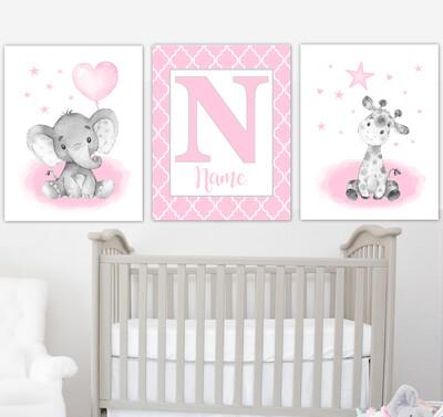 Pink Elephant With Balloons Giraffe Lion Safari Baby Girl Nursery Art Wall Decor  3 UNFRAMED PRINTS or CANVAS