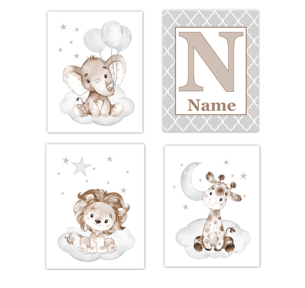 Elephants Baby Boy Nursery Art Giraffe Brown Gray Safari Animals Personalized Wall Decor 4 UNFRAMED PRINTS or CANVAS