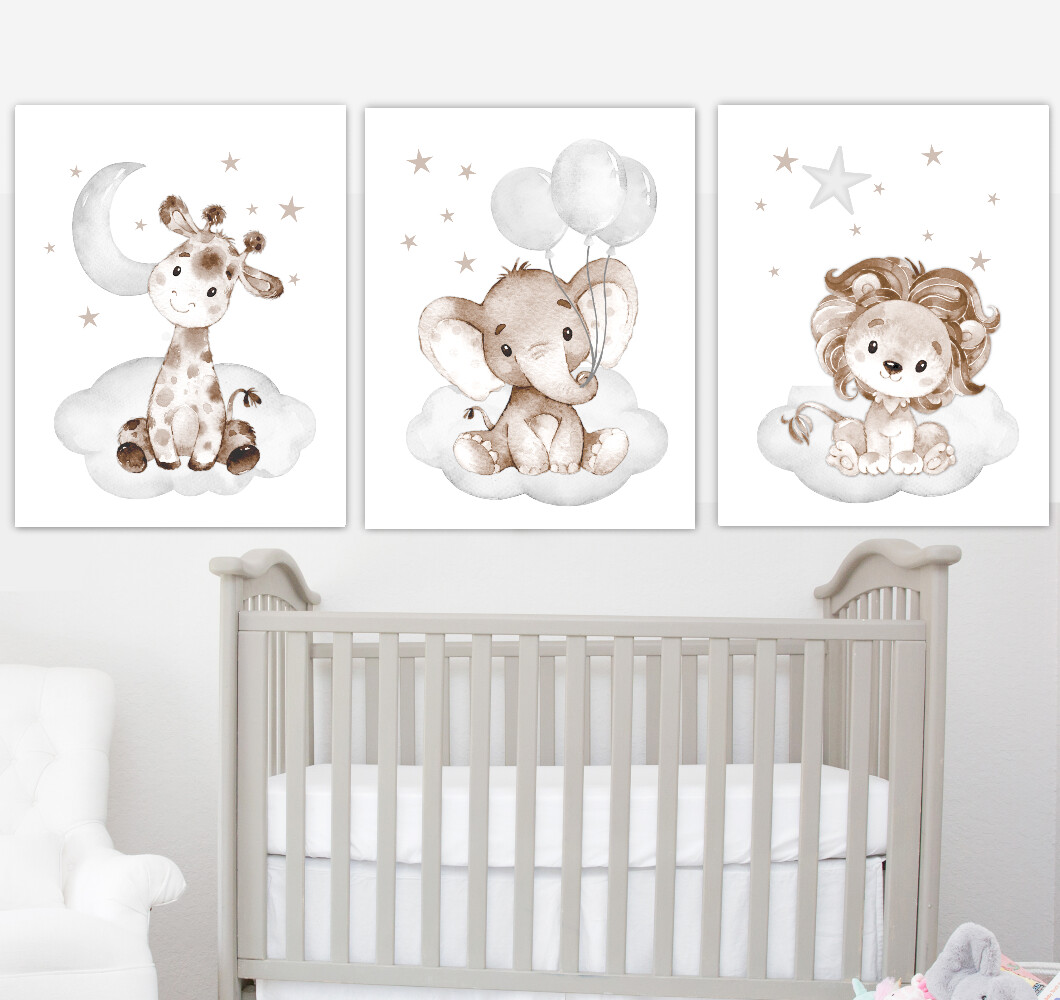 Baby Boy Nursery Art Elephant With Balloons Giraffe Lion Brown Gray Safari Animals Wall Decor 3 UNFRAMED PRINTS or CANVAS