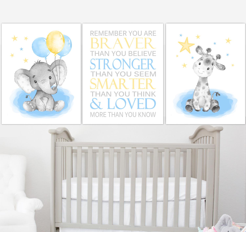 Blue Yellow Baby Boy Nursery Art Elephant With Balloons Giraffe Safari Animals Wall Decor 3 UNFRAMED PRINTS or CANVAS