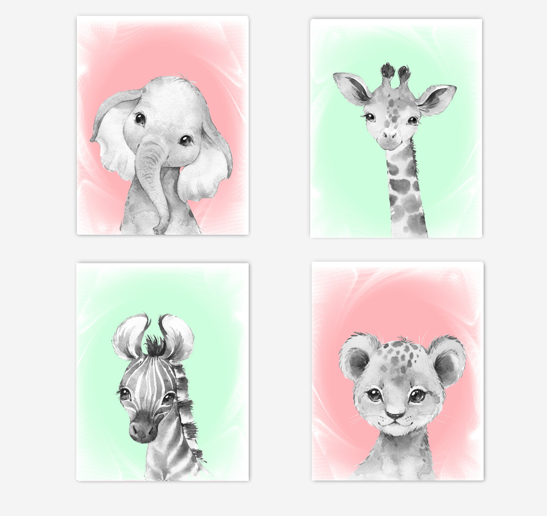 Safari Animals Baby Girl Nursery Wall Art Decor Coral Mint Elephant Giraffe Lion Zebra 4 UNFRAMED PRINTS or CANVAS