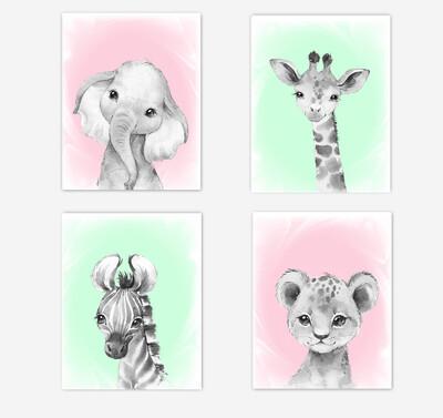 Safari Animals Baby Girl Nursery Wall Art Decor Pink Mint Elephant Giraffe Lion Zebra 4 UNFRAMED PRINTS or CANVAS