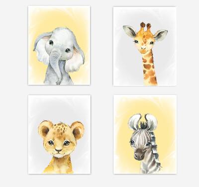 Safari Animals Baby Nursery Wall Art Decor Yellow Elephant Giraffe Lion Zebra Gender Neutral 4 UNFRAMED PRINTS or CANVAS