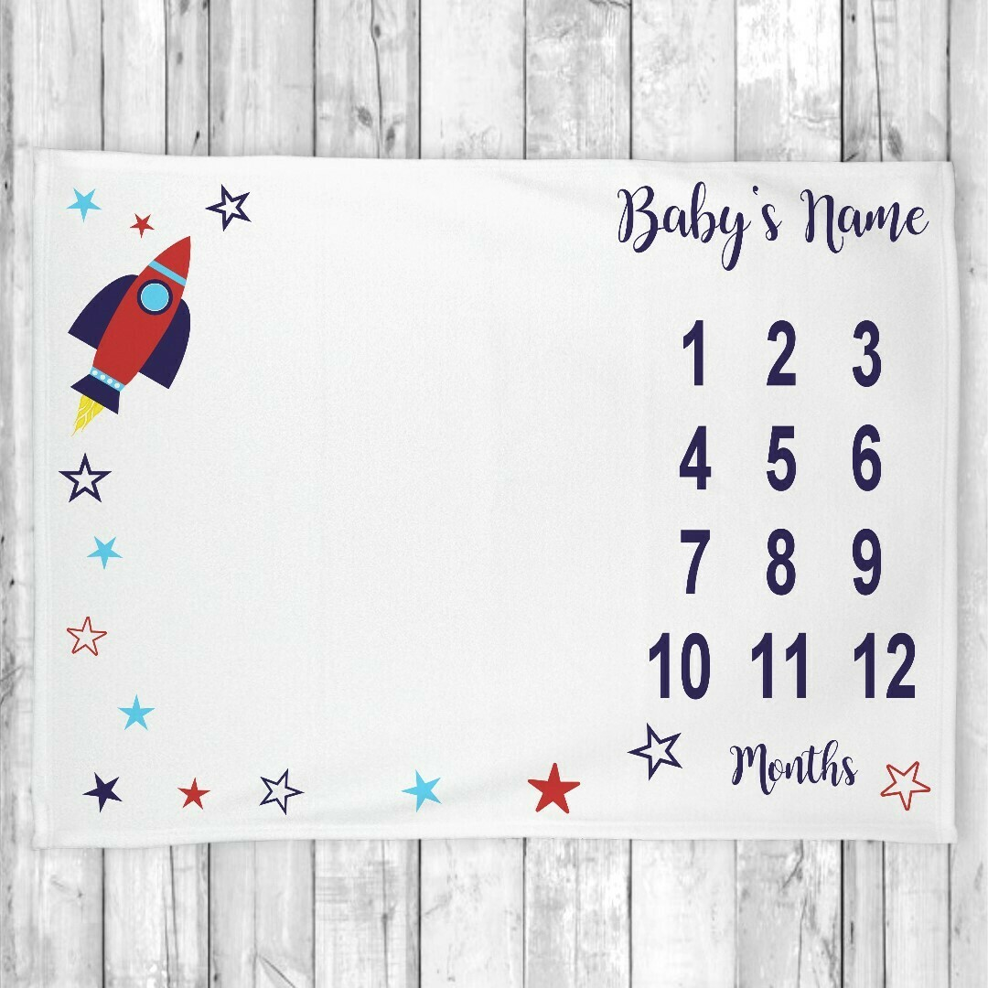 Monthly Milestone Baby Boy Blanket Personalized Rocket Ship Space Baby Blanket New Baby Shower Gift