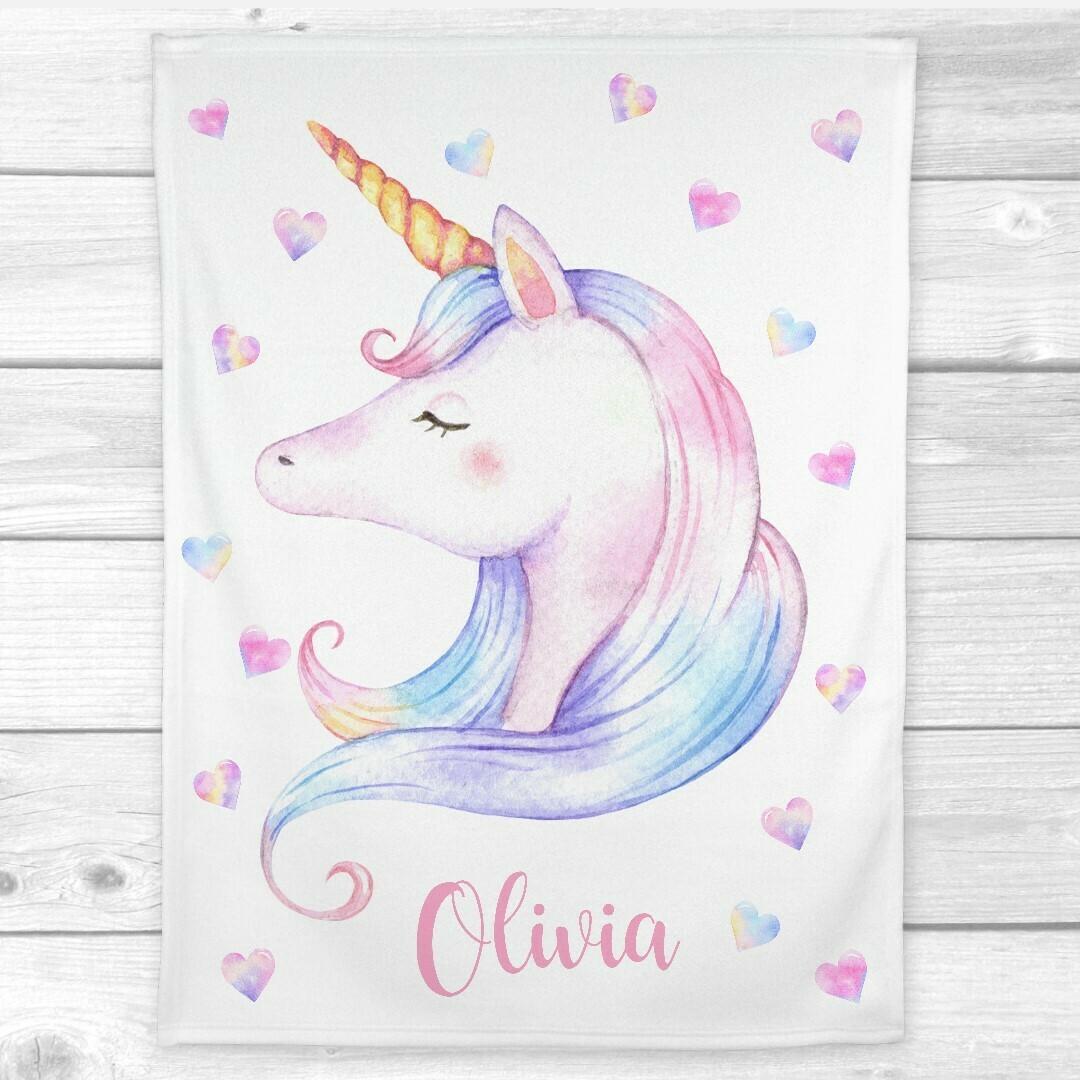 Unicorn Personalized Baby Girl Blanket Rainbow Unicorn Watercolor Minky Fleece Blankets Nursery Decor New Baby Shower Gift