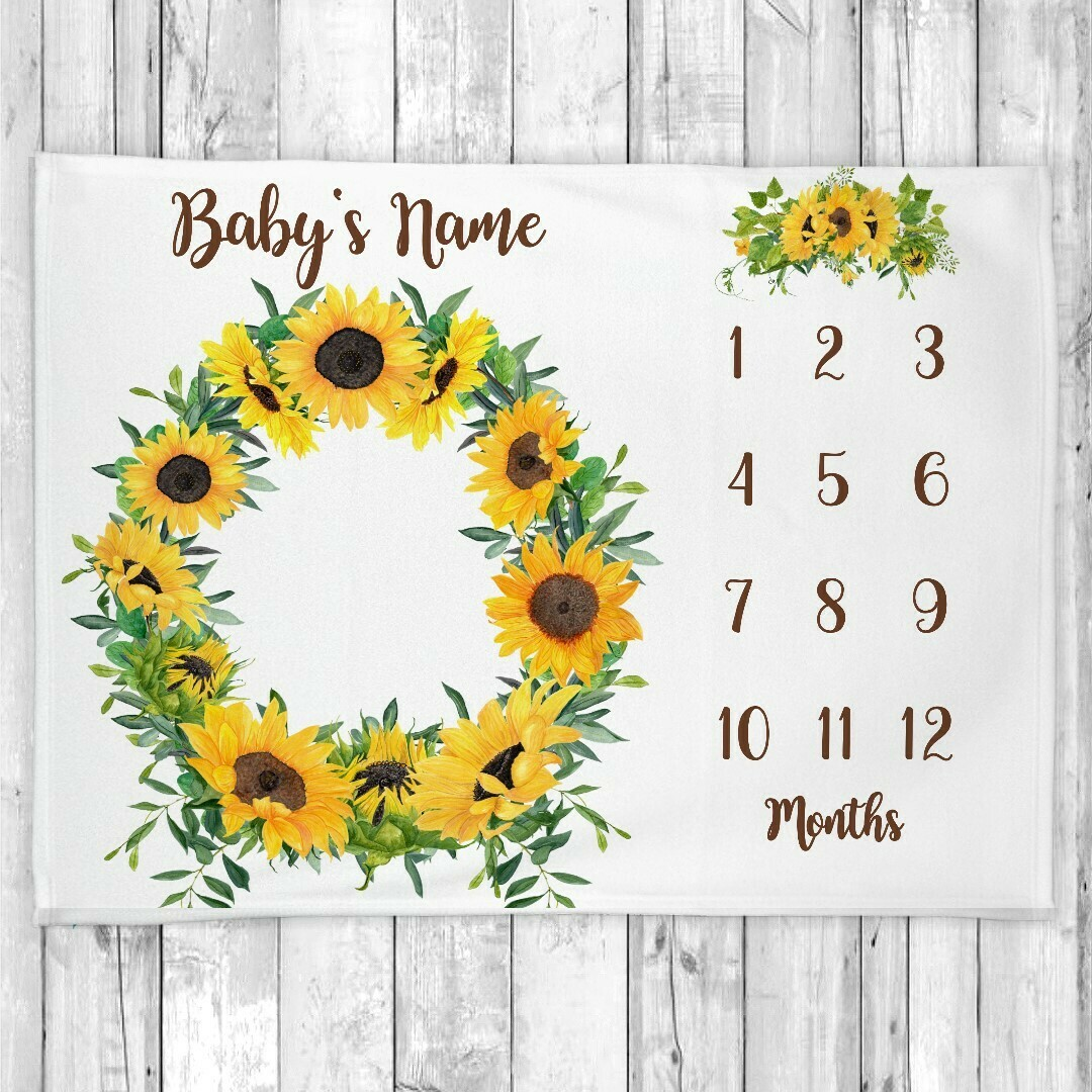 Monthly Milestone Sunflowers Baby Girl Blanket Personalized Floral Baby Blanket New Baby Shower Gift Baby Photo Op Backdrop