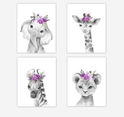 Safari Animals Baby Girl Nursery Wall Art Decor Purple Floral Elephant Giraffe Lion Zebra 4 UNFRAMED PRINTS or CANVAS