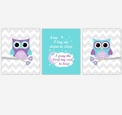 Baby Girl Nursery Wall Art Purple Teal Owls Prints Baby Nursery Decor SET OF 3 UNFRAMED PRINTS or CANVAS