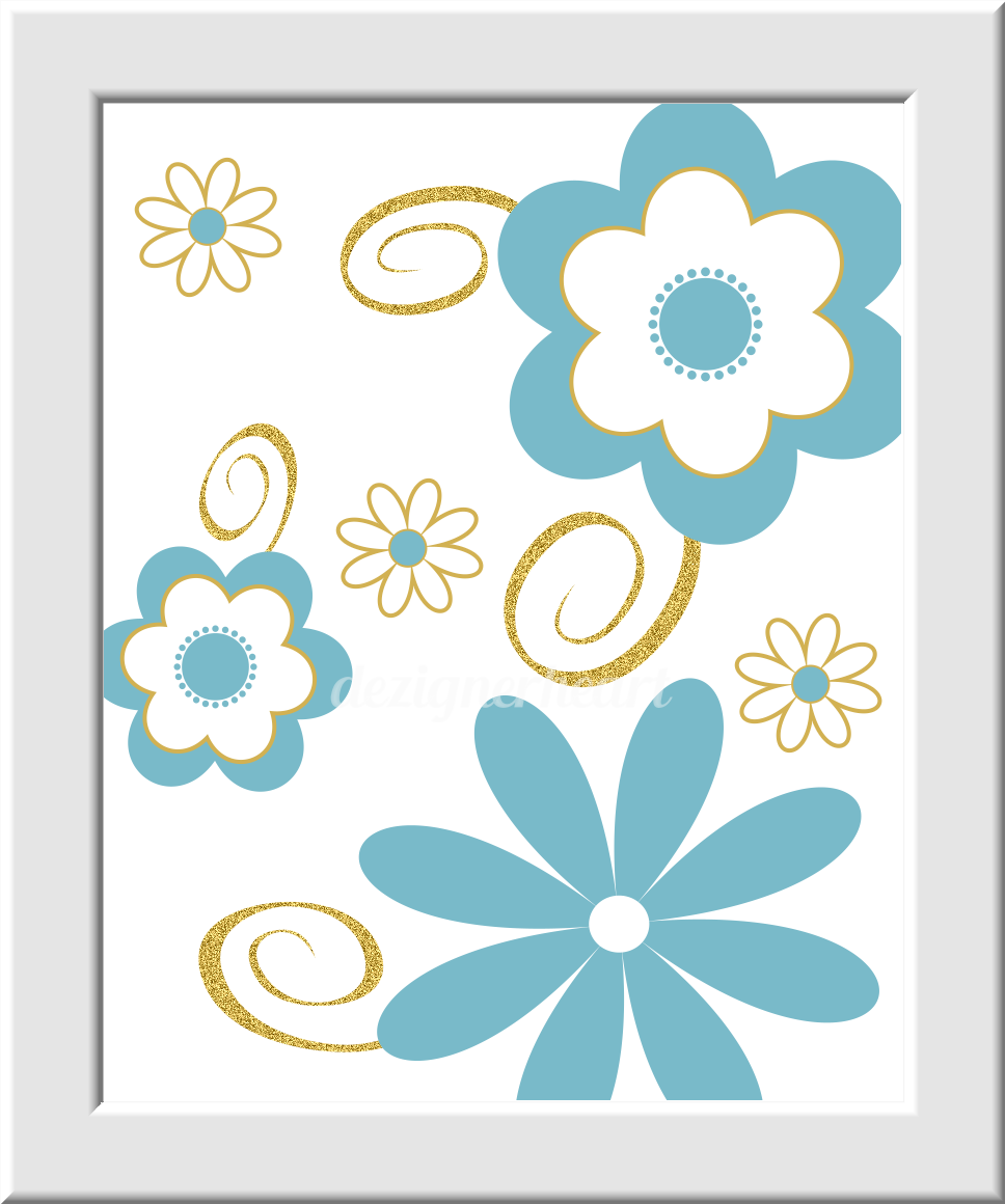 teal baby nursery wall art blue gold flowers monogram name. Black Bedroom Furniture Sets. Home Design Ideas