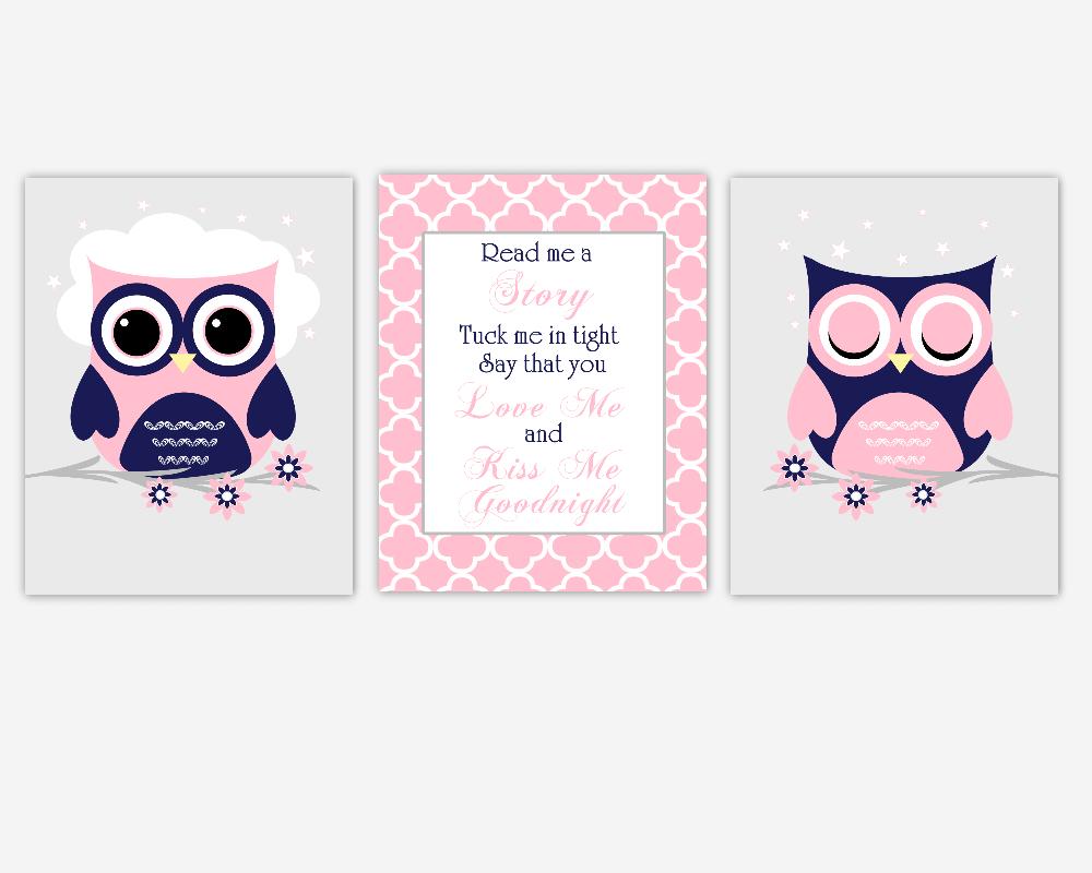 Pink Navy Blue Owl Baby Girl Nursery Wall Art Navy Blue Pink Owls Read Me A Story Baby Nursery Decor