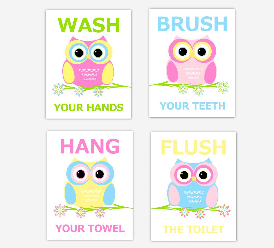 Owl Kids Bath Wall Art Pink Blue Yellow Wash Brush Hang Flush Children Bath Rules Artwork SET OF 4 UNFRAMED PRINTS