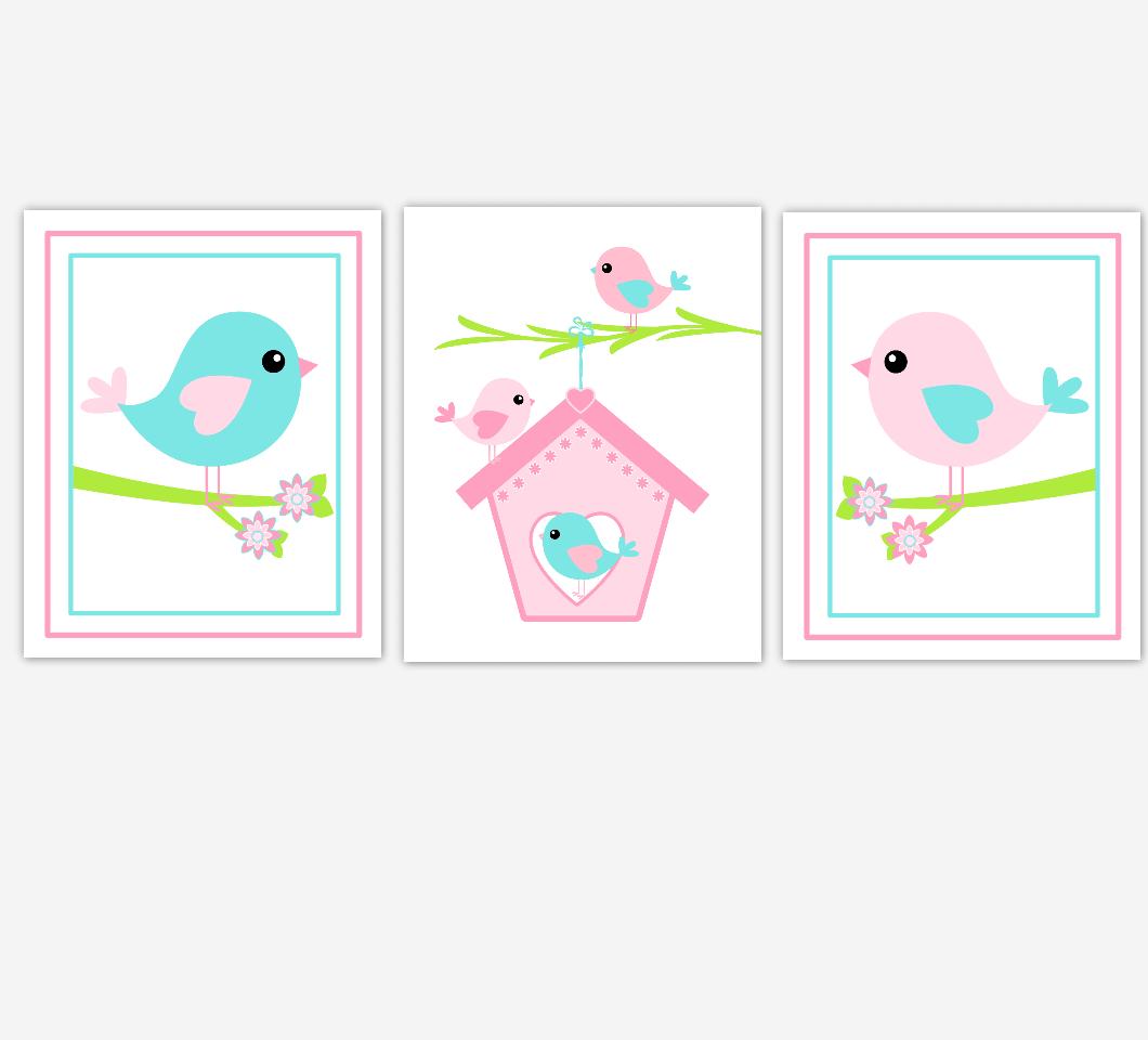 Baby Girl Nursery Wall Art Pink Aqua Birds Birdhouse Baby Nursery Decor