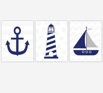 BLUE GRAY Nautical Baby Boy Nursery Wall Art Lighthouse Anchor Sailboat Bathroom Wall Art Navy Grey Chevron Bathroom Prints Home Decor Boys Room Wall Art Playroom Prints SET OF 3 UNFRAMED PRINTS