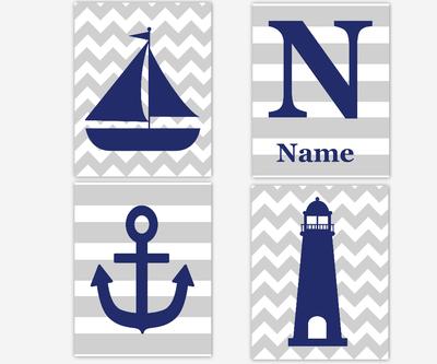 Nautical Baby Nursery Wall Art Navy Blue Gray Sailboat Anchor Lighthouse Personalize Art Boy Room Wall Decor Nautical Decor Baby Nursery Art SET OF 4 UNFRAMED PRINTS