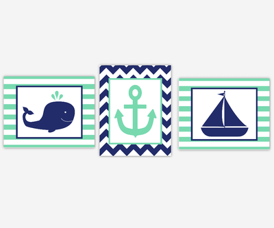 Nautical Nursery Wall Art Navy Blue Teal Green Whale Sailboat Boat Anchor Boy Girl Bedroom Bath Bathroom Prints Baby Nursery Decor SET OF 3 UNFRAMED PRINTS