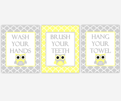 Kids Bath Wall Art Owls Yellow Gray Grey Wash Your Hands Brush Your Teeth Hang Your Towel Children Bathroom Rules SET OF 3 UNFRAMED PRINTS