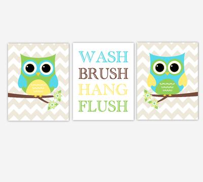Owl Bath Wall Art Yellow Green Turquoise Teal Blue Kids Bathroom Prints Wash Brush Hang Flush Children Bathroom Rules SET OF 3 UNFRAMED PRINTS