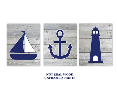 Nautical Wall Art Navy Blue Gray Sailboat LIghthouse Anchor Baby Boy Nursery Bath Prints Rustic Wood SET OF 3 UNFRAMED PRINTS